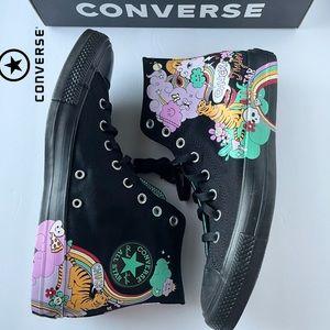 ⚡️SALE⚡️ Converse Black Graphic Black High Tops